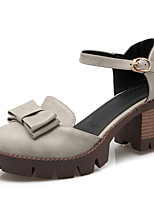 Women's Shoes Chunky Heel D'Orsay & Two-Piece / Round Toe Sandals Dress / Casual Black / Brown / Green / Gray / Beige