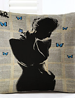 Novelty Shadow Girl Pattern Linen Pillowcase Sofa Home Decor Cushion Cover (18*18inch)