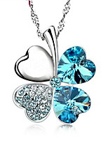 Trendy Lots Color Blue Rhinestone Four Leaf Clover Pendant Flower Necklace Real 925 Silver Chain Women Crystal Jewelry
