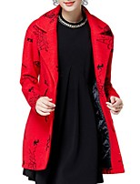 Women's Print Red Pea Coats,Plus Size Long Sleeve Polyester