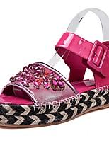 Women's Shoes Leather / Sheepskin Platform Peep Toe / Platform Sandals Party & Evening / Dress / Casual Black / Red
