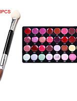pro 32 couleur brillant à lèvres rouge à lèvres cosmétique de maquillage set palette + 10pcs double éponge bâton (ombre brosse oeil +