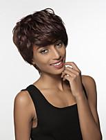 remy main de cheveux humains de l'élégance naturelle texture courte cheveux ondulés femme liée perruque -top