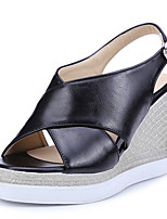 Women's Shoes Wedge Heel Wedges / Peep Toe / Platform Sandals Dress / Casual Black / White