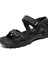 Zapatos de Hombre-Sandalias-Exterior / Oficina y Trabajo / Vestido / Casual / Deporte / Laboral-Nappa Leather-Negro / Marrón