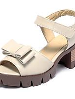 Chaussures Femme-Extérieure / Habillé / Décontracté-Jaune / Beige / Bordeaux-Gros Talon-Bout Ouvert / A Plateau-Sandales-Similicuir