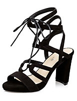 Черный / Серый / Миндальный-Женская обувь-Для праздника / На каждый день-Бархат-На толстом каблуке-На каблуках / С открытым носком-