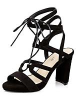 Women's Shoes Velvet Chunky Heel Heels / Peep Toe Sandals Dress / Casual Black / Gray / Almond