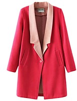 Women's Solid Red Coat,Street chic Long Sleeve Polyester