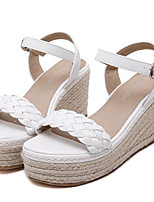 Women's Shoes Leatherette Summer Wedges / Heels Outdoor / Casual Wedge Heel Buckle White / Gray