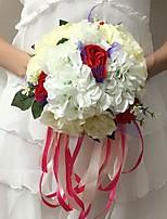 Bouquets de Noiva Redondo Rosas / Peônias Buquês Casamento / Festa / noite Multi-Côr Cetim 9.84