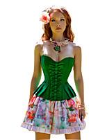 Women Sexy Patchwork Bowknot Satin Bustier Waist Cincher Corset,Lingerie Shaperwear
