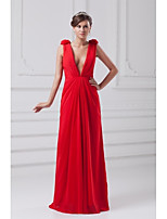 Formal Evening Dress-Ruby Sheath/Column V-neck Floor-length Chiffon