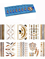 10 Style Body Art Chain Gold Tattoo Temporary  Metallic Tattoo Jewelry Temporary Tattoo Stickers