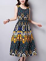 Women's Vintage / Boho Print Sheath / Swing Slim Thin Dress,Round Neck Midi Cotton / Linen