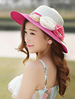 Women Straw Flowers Color Block Fedora Hat,Party / Casual Spring / Summer / Fall