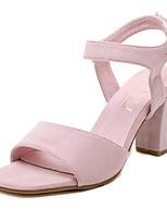 Women's Shoes Fleece Summer Heels Outdoor / Casual Chunky Heel Buckle Black / Pink