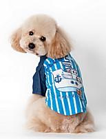 Cães Camiseta / Roupa / vestuário Azul / Rosa Verão Riscas Listrado-Lovoyager