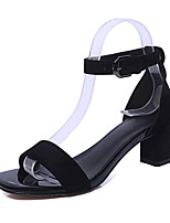 Women's Shoes Fleece / Chunky Heel Comfort / Open Toe Sandals Dress / Casual Black / Gray / Burgundy