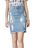 Women's Solid Blue Skirts,Casual / Day Above Knee