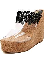 Women's Shoes Leatherette Summer Wedges / Heels Outdoor / Casual Wedge Heel Black / White