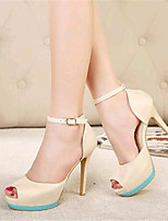 Women's Shoes Leatherette Stiletto Heel Heels / Peep Toe Heels Party & Evening Black / Almond