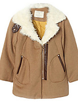 Girl's Brown Jacket & Coat,Dresswear Cotton Winter