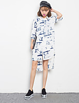 Women's Cute Floral Shift Dress,Shirt Collar Asymmetrical Polyester