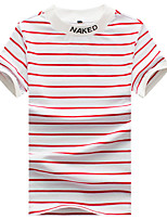 Men's Striped Casual / Sport / Plus Sizes T-Shirt,Cotton Short Sleeve-Black / Blue / Red / White