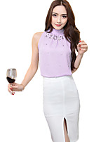Women's Solid Pink / Green / Purple Blouse,Crew Neck Sleeveless