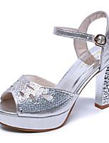 Women's Shoes PU Chunky Heel Heels Sandals / Heels Wedding / Party & Evening / Dress / Casual Silver / Gold