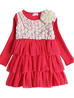 Girl's Dress,Cotton Spring / Fall Red / Yellow