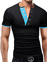 Men's Solid Casual T-Shirt,Cotton Short Sleeve-Black / Blue / Green / Red