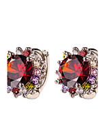 18k Gold AAA Zircon Hoop Stud Earrings Jewelry