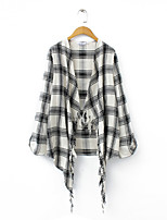 Women's Casual/Daily Simple Jackets,Check Round Neck Long Sleeve Black Polyester