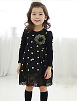 Girl's Casual/Daily Polka Dot Dress,Cotton Spring / Fall Black / Pink
