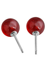 Classic Antique Real 925 Sterling Silver Red Round Stone Garnet Earrings Women Female Models Nice Jewelry