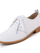 Women's Shoes Leather Flat Heel Comfort Oxfords Casual Black / Blue / Brown / Pink / White / Beige