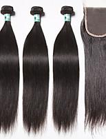 brasilianisches reines Haar glattes Haar Einschlagfaden mit Verschluss 3 Bündel unverarbeitetes Menschenhaar Webart mit 1pc Spitze