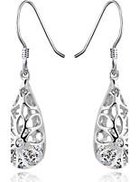 Real 925 Silver Long Tassel Hollow Water Drop Earrings Party Nightclub Rhinestone Statement Earrings Women Jewelry