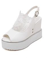 Calçados Femininos-Sandálias-Conforto-Plataforma-Preto / Branco-Courino-Ar-Livre