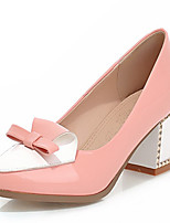Women's Shoes Leatherette Chunky Heel Heels Heels Outdoor / Office & Career / Dress Blue / Pink / White / Beige