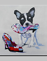 Handmade Modern Nnaughty Dog Animal Dog Oil Painting On Canvas For Living Room Home Decor Wall Paintings Whit Frame