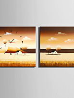 E-HOME®Fields Of Gold Clock in Canvas 2pcs