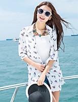 Women's Animal Print White Shirt,Shirt Collar ½ Length Sleeve