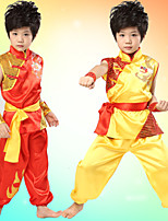 Performance Outfits Children's Performance Satin Sash/Ribbon 3 Pieces Red / Yellow Folk Dance Sleeveless
