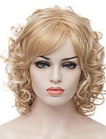 de color rubio de longitud media pelucas sintéticas rizada de moda de las mujeres