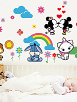 Wall Stickers Wall Decals, Cute Cartoon Kiss Mickey Mouse PVC Wall Sticker