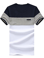Men's Short Sleeve T-Shirt,Cotton Casual / Sport / Plus Sizes Striped / Patchwork