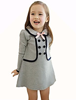 Girl's Casual/Daily Dress,Cotton Spring / Fall Blue / Gray